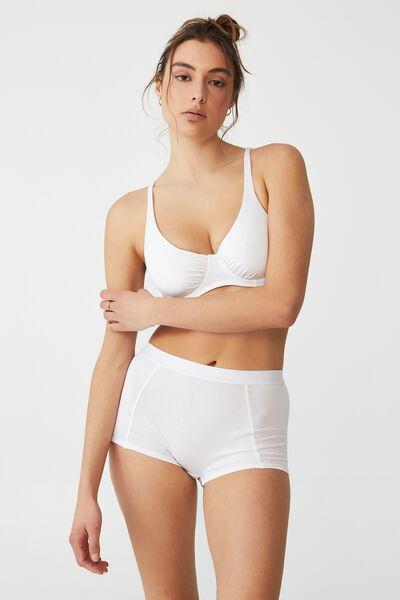 Organic Cotton Shorty Brief, WHITE