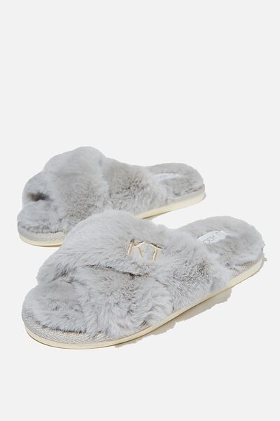 Personalised Duo Crossover Slipper, GREY