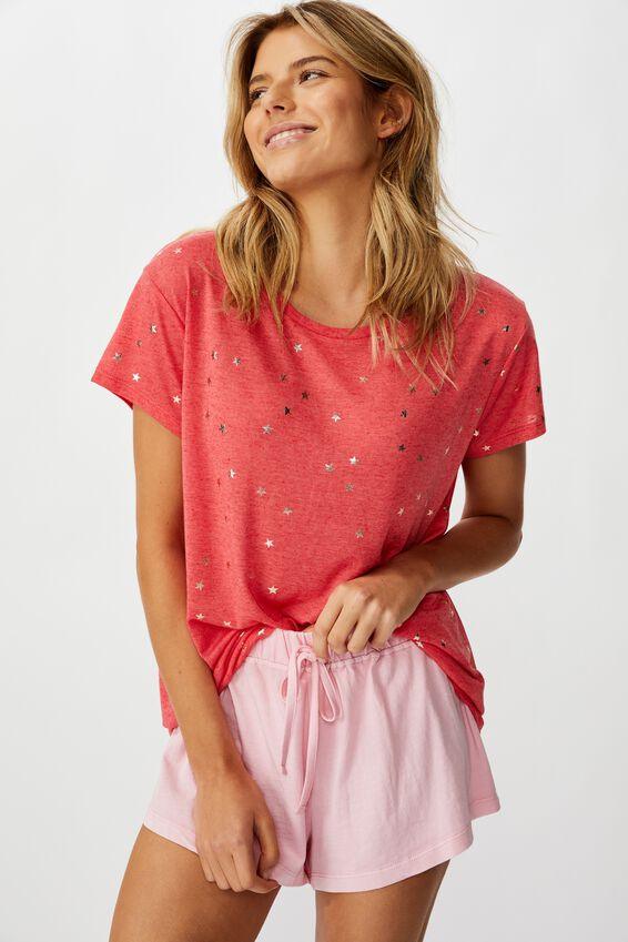 Dreamy Sleep T-Shirt, SCATTERED STARS/WASHED RED