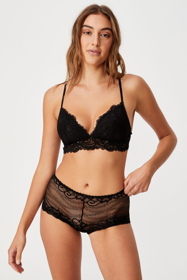 Ainsley Lace Shorty Brief, BLACK