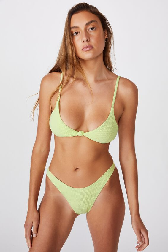 Knot Front Bralette Bikini Top, LEMONADE TEXTURE