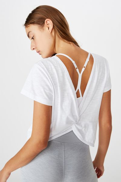 Lifestyle Twist Back Tshirt, WHITE
