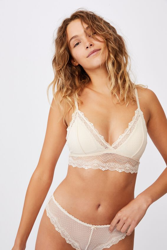 Stevie Lace Longline Bralette, BUTTERMILK