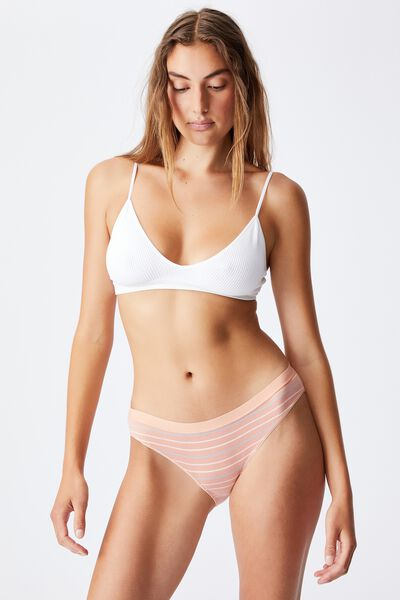 Organic Cotton Bikini Brief, MULTI STRIPE ROSE CLOUD RIB