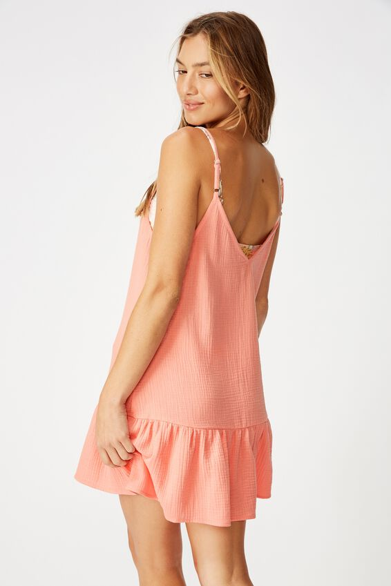 Drop Hem Beach Dress, SHELL CORAL