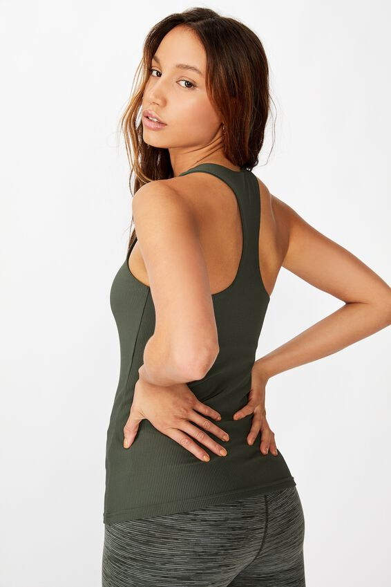 Active Fitted Tank Top, KHAKI RIB