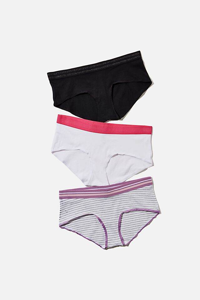 Sporty Femme Boyleg Brief, BLACK/GREY MARLE STRIPE/WHITE
