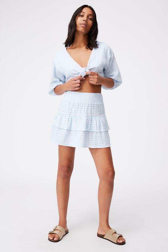 Double Ruffle Beach Skirt, PALE BLUE GINGHAM