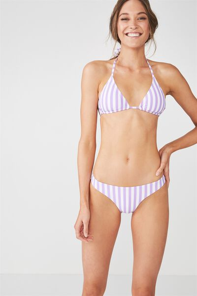 Seamless Brazilian Bikini Bottom, VIOLET FIZZ SANDY STRIPE