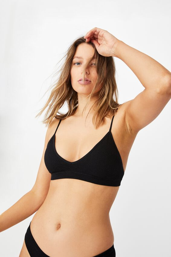 Seamfree Triangle Bralette With Cups, BLACK