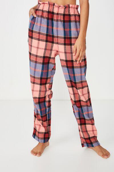 Flannel Paper Bag Pant, DAPHNEE BLUE MINI CHECK