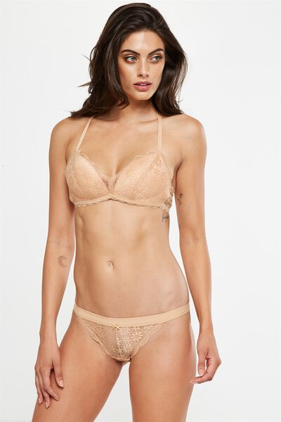 Jojo Wire Free Lift Bra, ALMOND