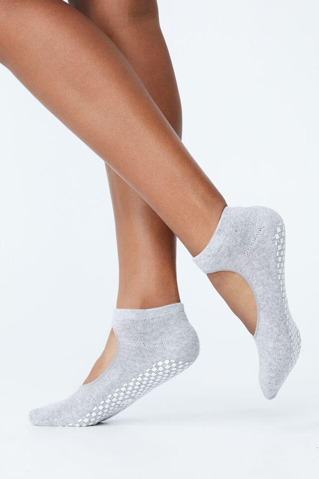 Plie Grip Studio Sock, GREY MARLE