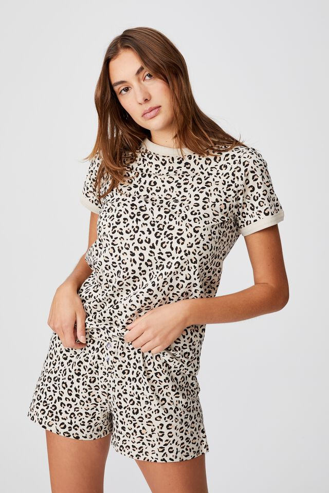 Ringer Sleep T-Shirt, SPRAY LEOPARD