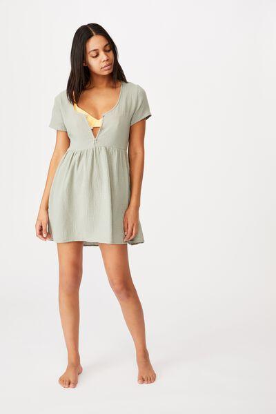Button Up Beach Dress, KHAKI