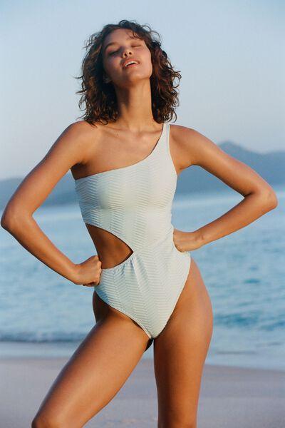 One Shoulder One Piece Brazilian Texture, ICE BLUE TEXTURE