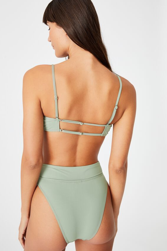 Gathered Front Backless Bikini Top, KHAKI