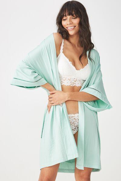 Textured Kimono Gown, DUSTY AQUA