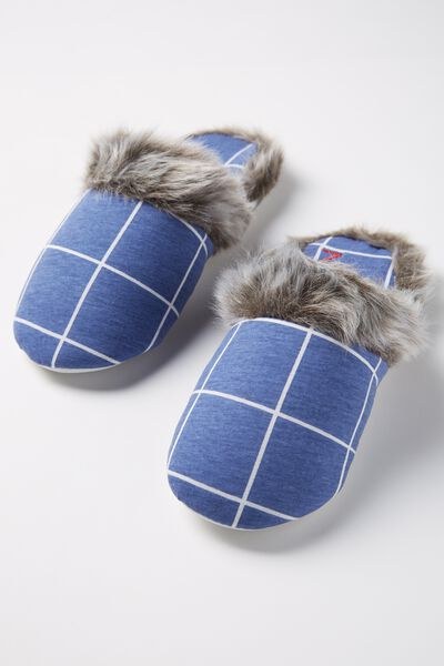 Novelty Slipper, MOONLIGHT/WHITE CHECK