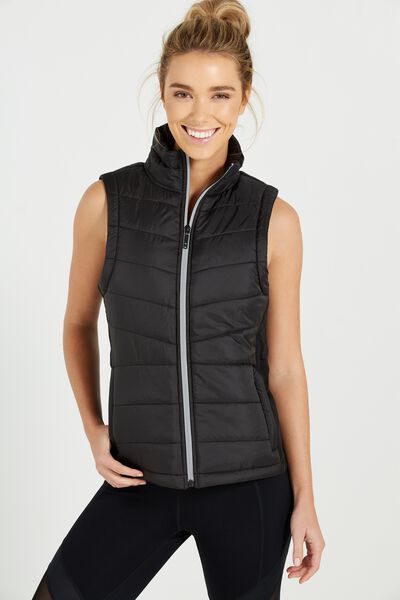 Slimline Puffer Vest, BLACK