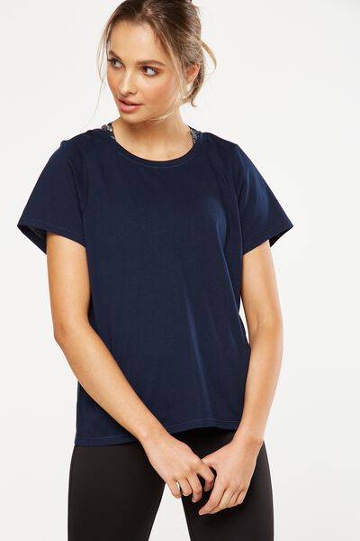 Butterfly Mesh Back T Shirt, DARK INDIGO