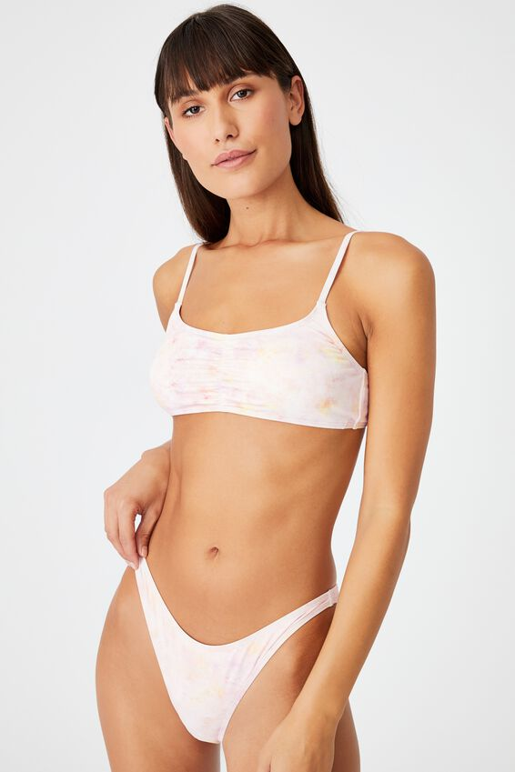Gathered Front Backless Bikini Top, DYE SCATTERED PINK