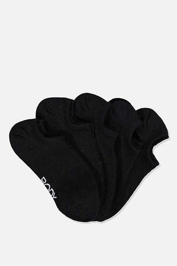 5Pk Body Low Cut Sock, BLACK