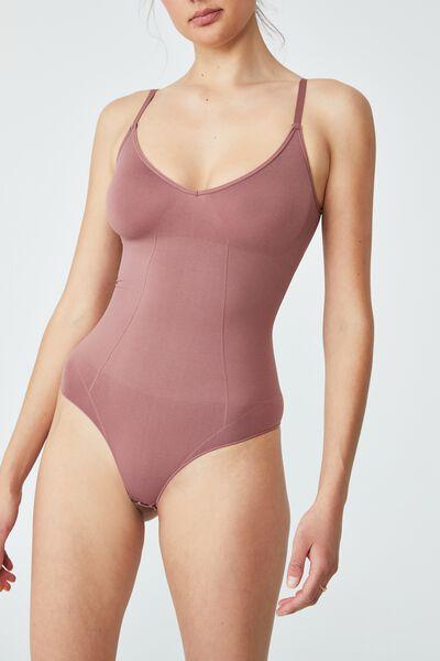 Go Figure Plunge Bodysuit, DUSTY ROSE