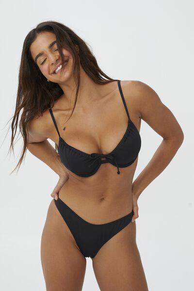 Gathered Bum Brazilian Bikini Bottom, BLACK