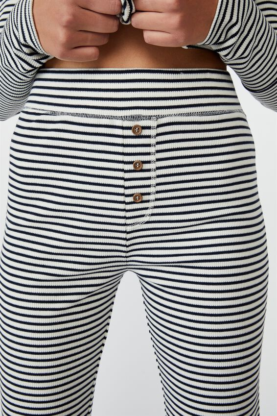 Waffle Long John, SIMPLE STRIPE/NAVY