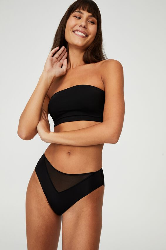 Invisible Mesh Bandeau With Cups, BLACK