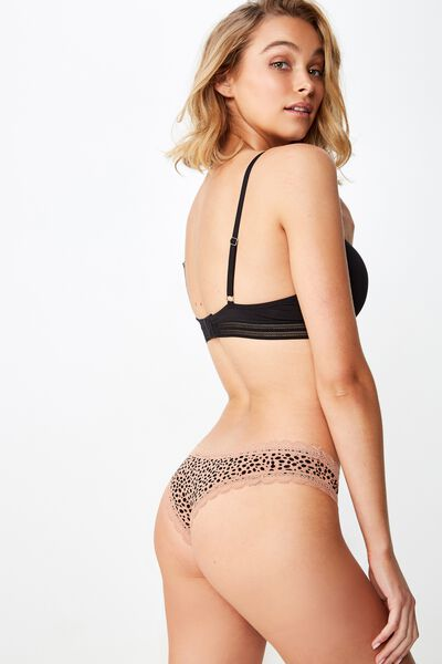 Smooth Lace Trim Brasiliano Brief, SPECKLE LEOPARD