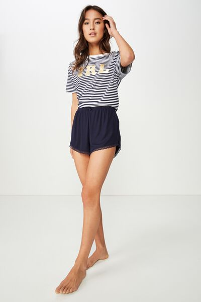 Rib Lace Short, NAVY BABY