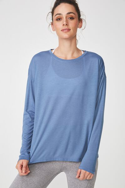 Long Sleeve Split Hem, CHALKY BLUE