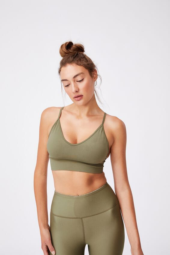 Lifestyle Seamless V-Neck Crop, OREGANO