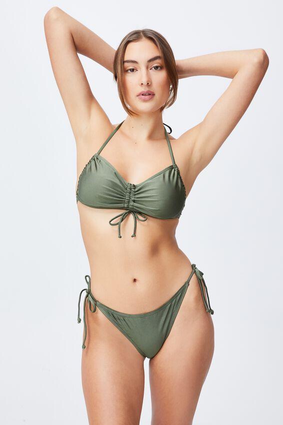 Gathered Backless Halter Bikini Top, WARM KHAKI SHIMMER