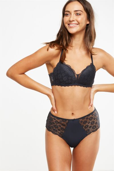 Jojo Wire Free Lift Bra, CHARCOAL