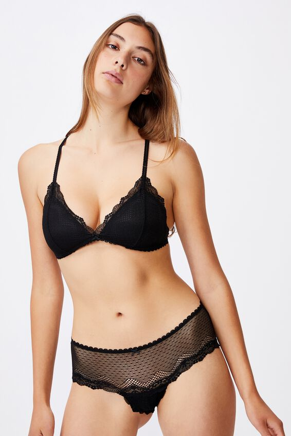 Stevie Lace Fixed Cup Wirefree Bra, BLACK