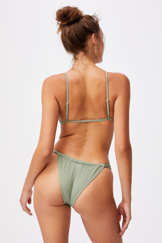 Gathered Bralette Bikini Top Rib, KHAKI RIB