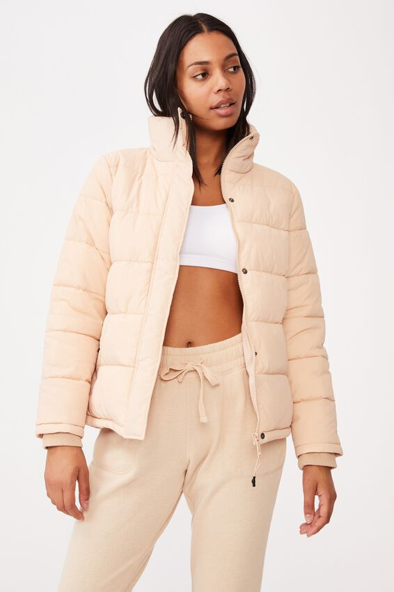 The Mother Puffer Jacket, CREME BRULEE