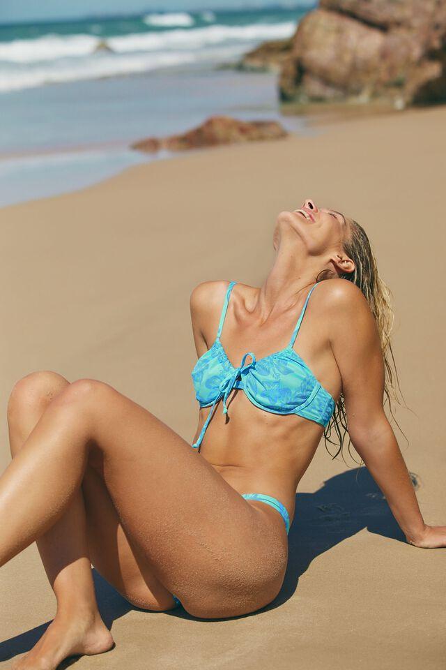 Half Wire Bra Bikini Top, HIBISCUS VINE BLUE