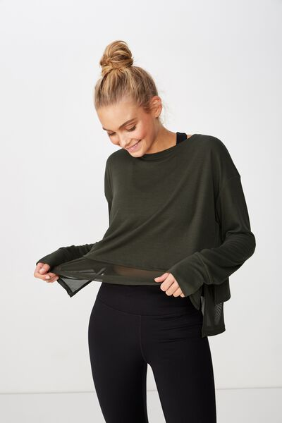 Layered Long Sleeve Top, KHAKI