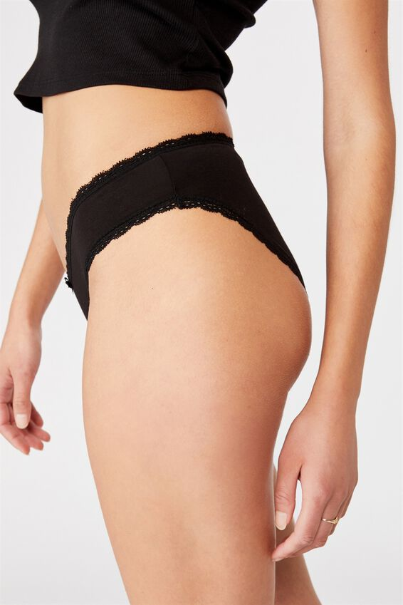 Charlotte Lace Trim Brasiliano Brief, BLACK