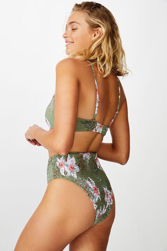 Highwaisted Banded Cheeky Bikini Bottom, COOL AVOCADO FLORAL SHIRRED