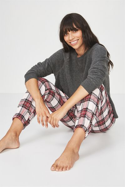 Dropped Flannel Pant, SPICEY RED CHECK