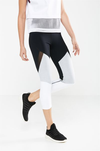Tone Up Crop Tight, BLACK/WHITE