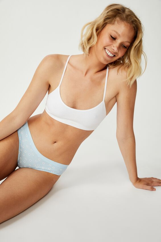 Cotton Rib Brasiliano Brief, BABY BLUE SIMPLE DAISY