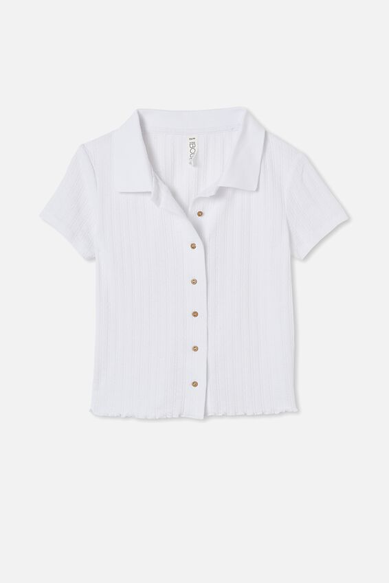 Knit Pointelle Polo, WHITE