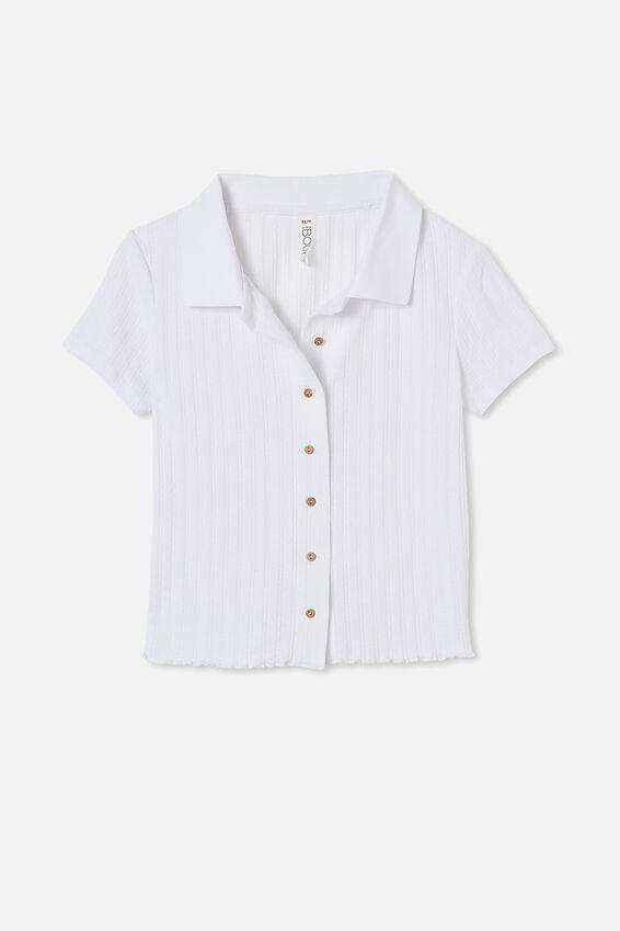 Knit Pointelle Polo, WHITE