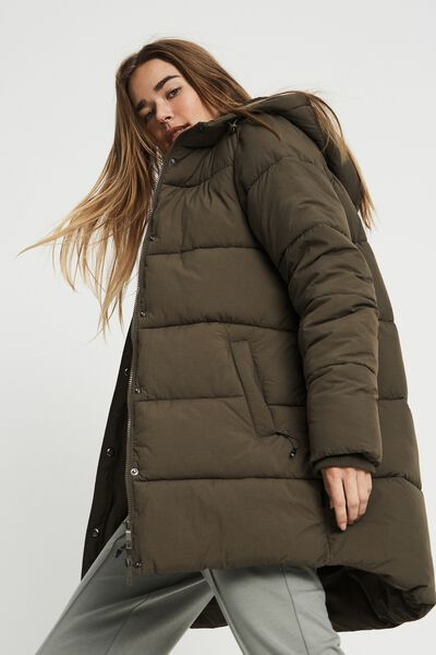 The Recycled Mother Mid Length Puffer Jacket, KHAKI